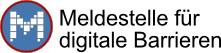 Meldestellenlogo mit Link zur Online-Meldung von digitalen Barrieren
